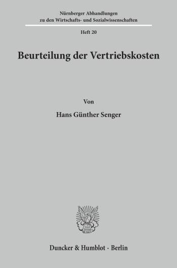Cover: Beurteilung der Vertriebskosten
