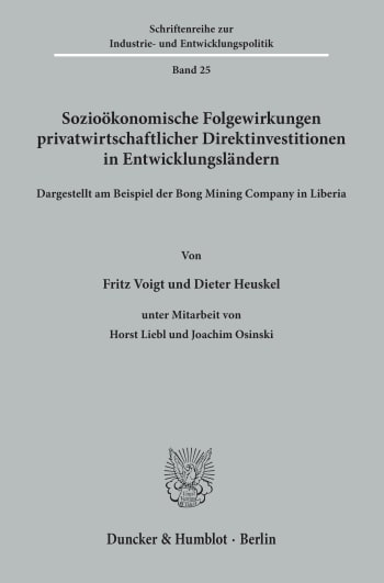 Cover: Sozioökonomische Folgewirkungen privatwirtschaftlicher Direktinvestitionen in Entwicklungsländern