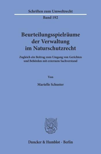 Cover: Beurteilungsspielräume der Verwaltung im Naturschutzrecht