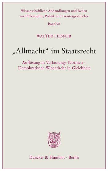 Cover: »Allmacht« im Staatsrecht