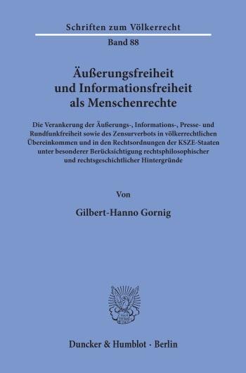Cover: Äußerungsfreiheit und Informationsfreiheit als Menschenrechte