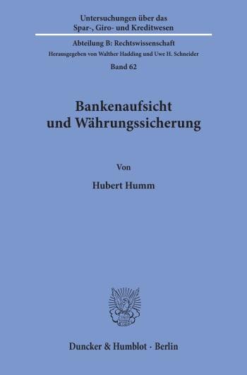 Cover: Bankenaufsicht und Währungssicherung