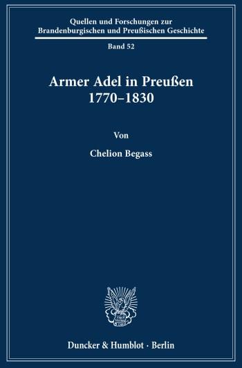 Cover: Armer Adel in Preußen 1770–1830