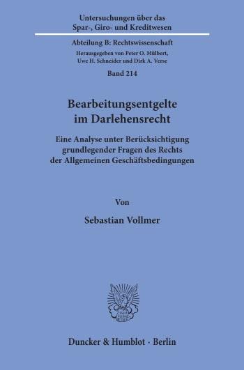 Cover: Bearbeitungsentgelte im Darlehensrecht