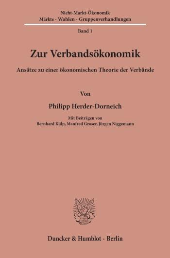 Cover: Zur Verbandsökonomik