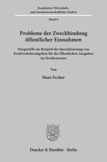 Cover: Probleme der Zweckbindung öffentlicher Einnahmen