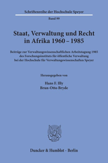 Cover: Staat, Verwaltung und Recht in Afrika 1960 - 1985