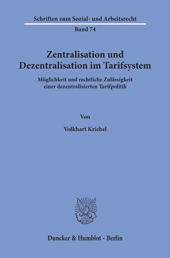 Cover: Zentralisation und Dezentralisation im Tarifsystem