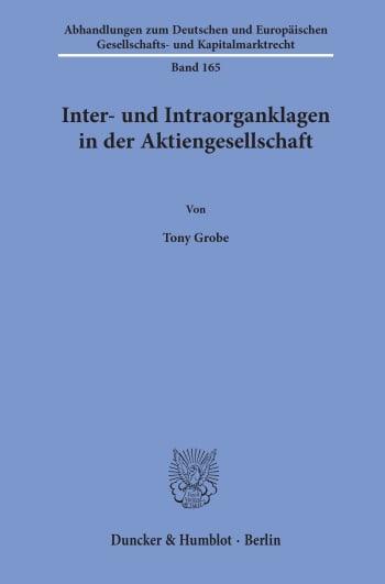 Cover: Inter- und Intraorganklagen in der Aktiengesellschaft