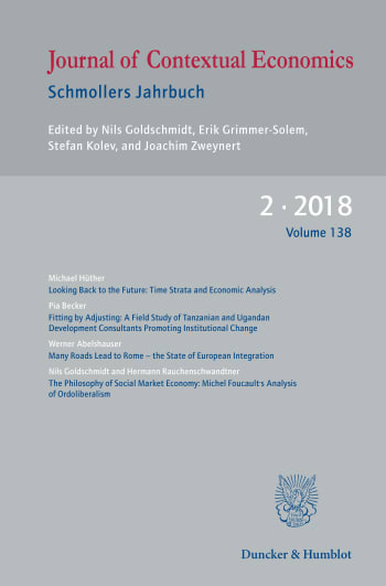 Cover: Journal of Contextual Economics – Schmollers Jahrbuch (JCE)