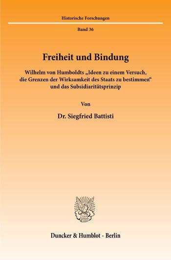 Cover: Freiheit und Bindung