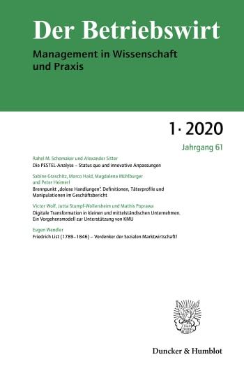 Cover: Der Betriebswirt (DBW)