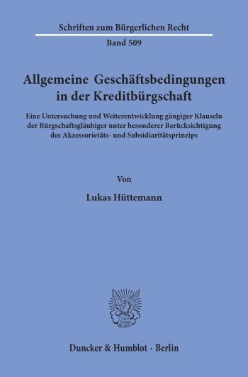 Cover: Allgemeine Geschäftsbedingungen in der Kreditbürgschaft