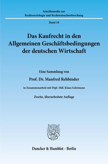 Cover: Das Kaufrecht in den Allgemeinen Geschäftsbedingungen der deutschen Wirtschaft