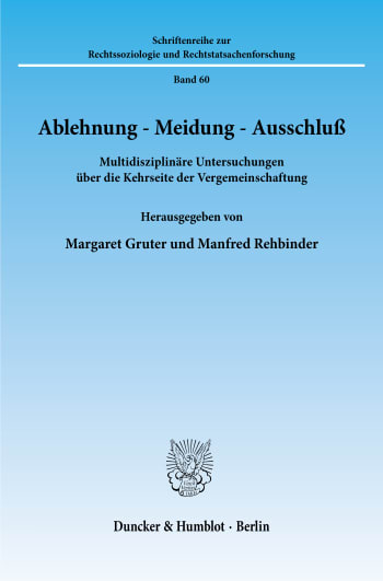 Cover: Ablehnung - Meidung - Ausschluß
