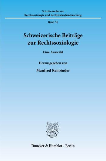 Cover: Schweizerische Beiträge zur Rechtssoziologie
