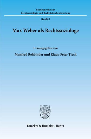 Cover: Max Weber als Rechtssoziologe