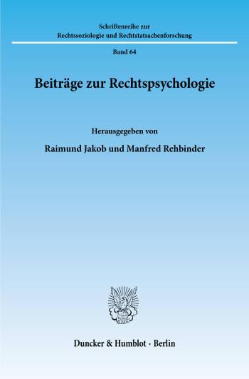 Cover: Beiträge zur Rechtspsychologie