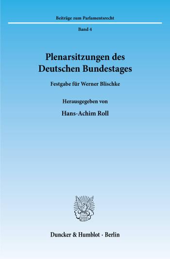 Cover: Plenarsitzungen des Deutschen Bundestages
