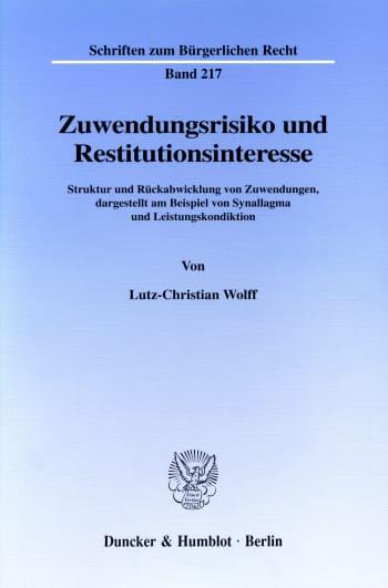 Cover: Zuwendungsrisiko und Restitutionsinteresse