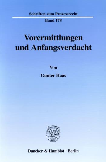 Cover: Vorermittlungen und Anfangsverdacht