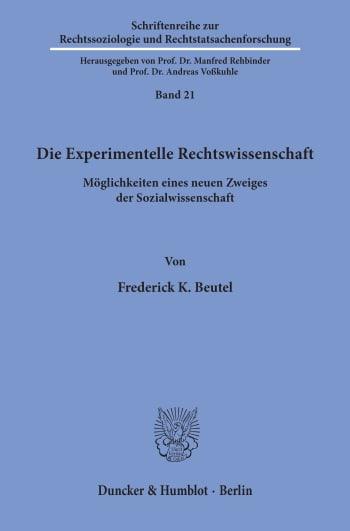 Cover: Die Experimentelle Rechtswissenschaft