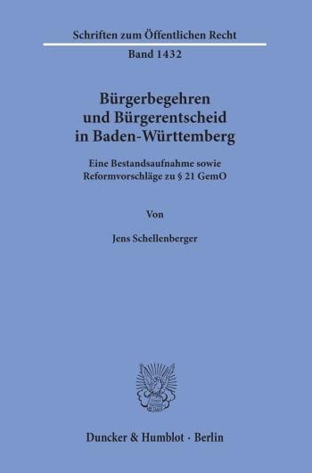 Cover: Bürgerbegehren und Bürgerentscheid in Baden-Württemberg