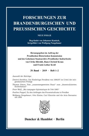 Cover: Forschungen zur Brandenburgischen und Preußischen Geschichte (FBPG)