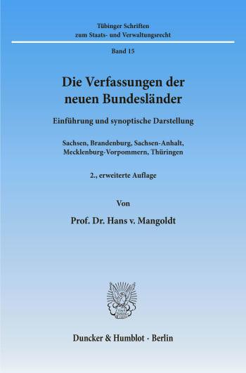 Cover: Die Verfassungen der neuen Bundesländer