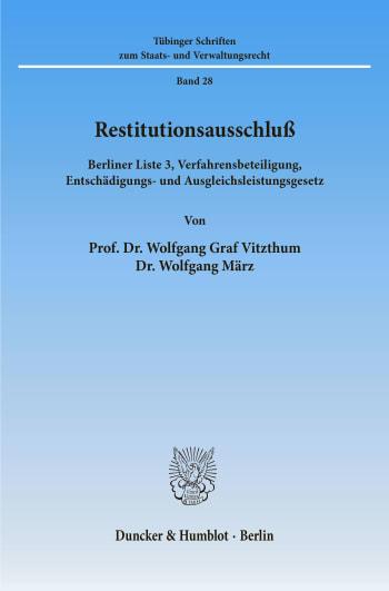 Cover: Restitutionsausschluß