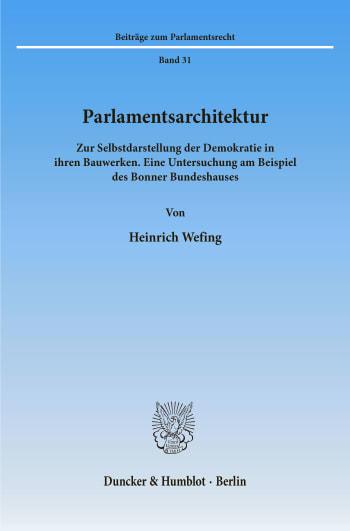 Cover: Parlamentsarchitektur