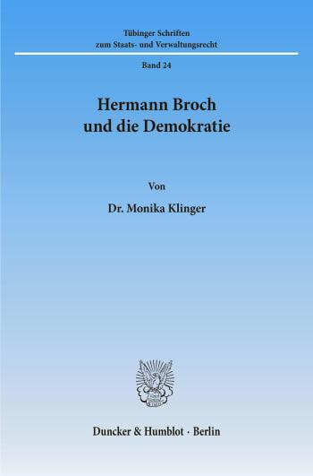Cover: Hermann Broch und die Demokratie