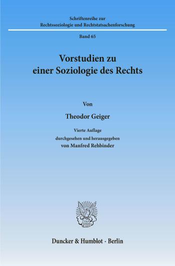 Cover: Vorstudien zu einer Soziologie des Rechts