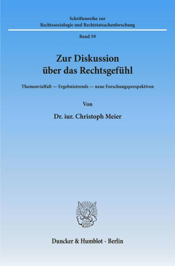 Cover: Zur Diskussion über das Rechtsgefühl