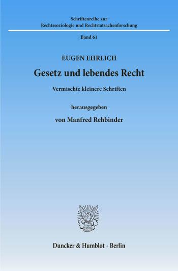 Cover: Gesetz und lebendes Recht