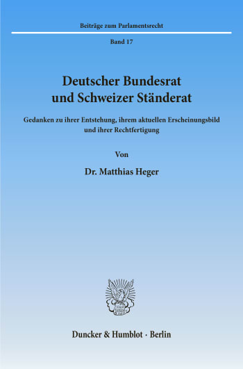 Cover: Deutscher Bundesrat und Schweizer Ständerat