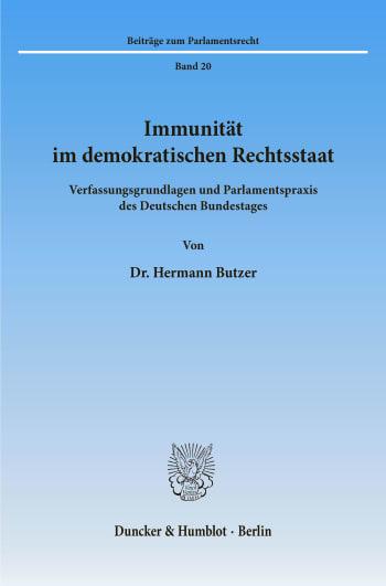 Cover: Immunität im demokratischen Rechtsstaat