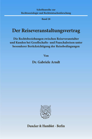 Cover: Der Reiseveranstaltungsvertrag