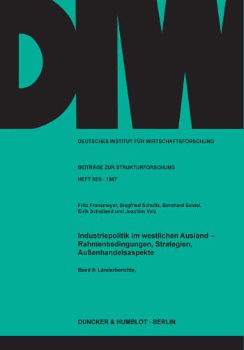 Cover: Industriepolitik im westlichen Ausland -