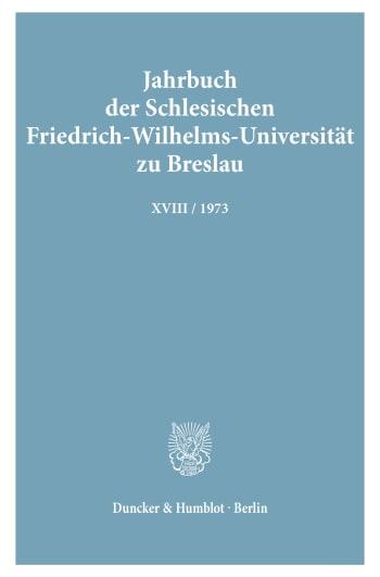 Cover: Jahrbuch der Schlesischen Friedrich-Wilhelms-Universität zu Breslau
