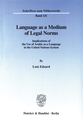 Cover: Language as a Medium of Legal Norms