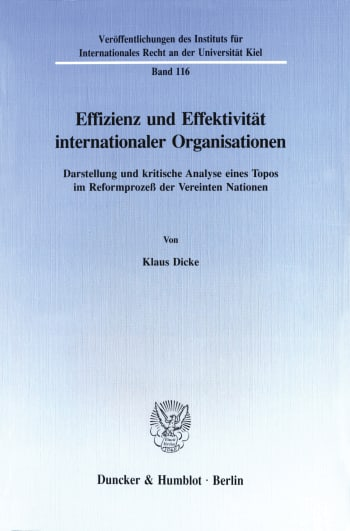 Cover: Effizienz und Effektivität internationaler Organisationen