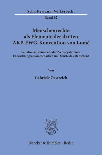 Cover: Menschenrechte als Elemente der dritten AKP-EWG-Konvention von Lomé
