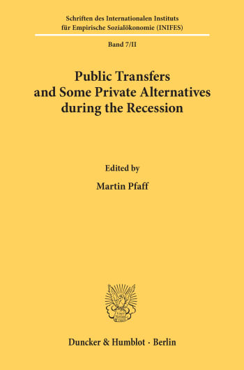 Cover: Public Transfers and Some Private Alternatives during the Recession