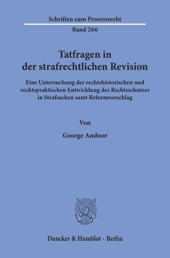Cover: Tatfragen in der strafrechtlichen Revision