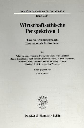 Cover: Wirtschaftsethische Perspektiven I