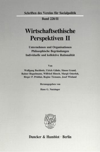 Cover: Wirtschaftsethische Perspektiven II