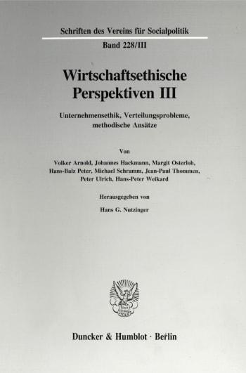 Cover: Wirtschaftsethische Perspektiven III