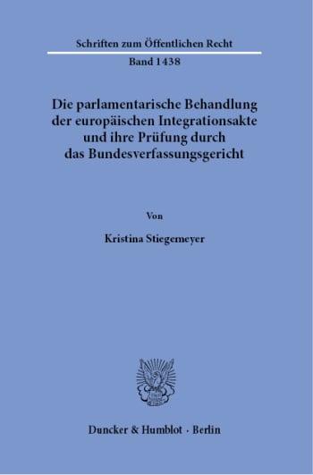 Cover: Schriften zum Öffentlichen Recht (SÖR)