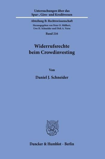 Cover: Widerrufsrechte beim Crowdinvesting